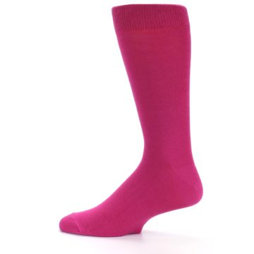 Image of Watermelon / Fuchsia Solid Color Men's Dress Socks (side-2-12)