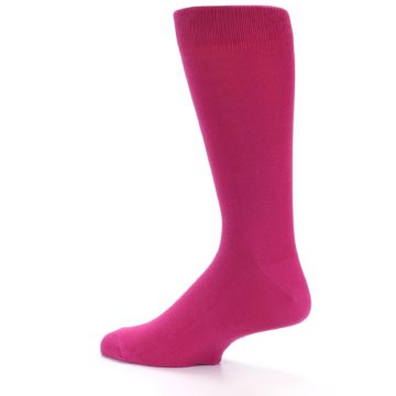 Image of Watermelon / Fuchsia Solid Color Men's Dress Socks (side-2-13)
