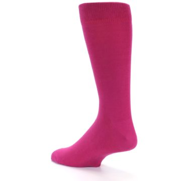 Image of Watermelon / Fuchsia Solid Color Men's Dress Socks (side-2-back-14)