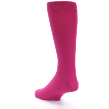 Image of Watermelon / Fuchsia Solid Color Men's Dress Socks (side-2-back-15)