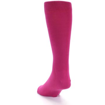 Image of Watermelon / Fuchsia Solid Color Men's Dress Socks (side-2-back-16)