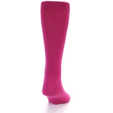 Image of Watermelon / Fuchsia Solid Color Men's Dress Socks (back-19)