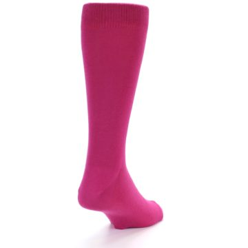 Image of Watermelon / Fuchsia Solid Color Men's Dress Socks (side-1-back-20)