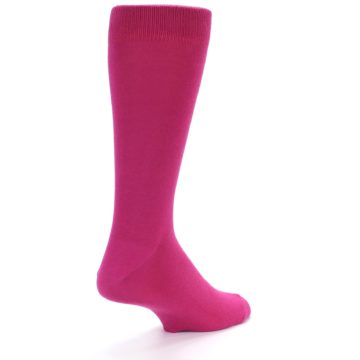 Image of Watermelon / Fuchsia Solid Color Men's Dress Socks (side-1-back-21)