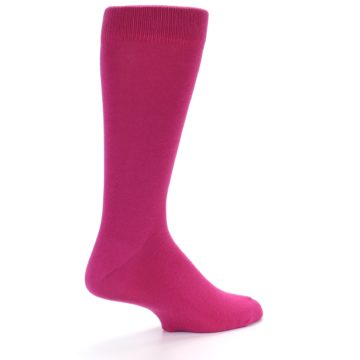 Image of Watermelon / Fuchsia Solid Color Men's Dress Socks (side-1-back-22)