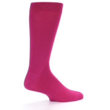 Image of Watermelon / Fuchsia Solid Color Men's Dress Socks (side-1-23)