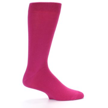 Image of Watermelon / Fuchsia Solid Color Men's Dress Socks (side-1-24)