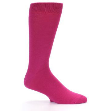 Image of Watermelon / Fuchsia Solid Color Men's Dress Socks (side-1-25)