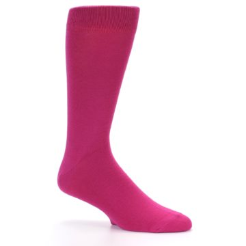 Image of Watermelon / Fuchsia Solid Color Men's Dress Socks (side-1-26)