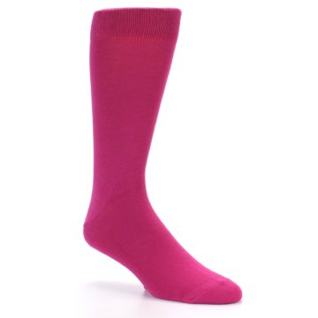 Image of Watermelon / Fuchsia Solid Color Men's Dress Socks (side-1-27)