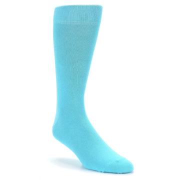 Image of Pool Blue Solid Color Men's Dress Socks (side-1-front-01)