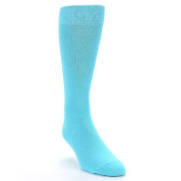 Image of Pool Blue Solid Color Men's Dress Socks (side-1-front-02)