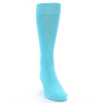 Image of Pool Blue Solid Color Men's Dress Socks (side-1-front-03)