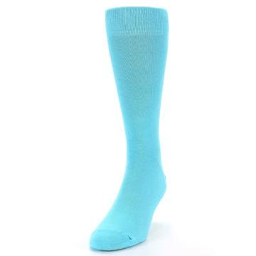 Image of Pool Blue Solid Color Men's Dress Socks (side-2-front-06)