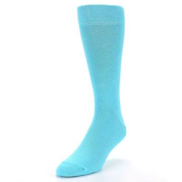 Image of Pool Blue Solid Color Men's Dress Socks (side-2-front-07)