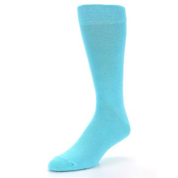 Image of Pool Blue Solid Color Men's Dress Socks (side-2-front-08)