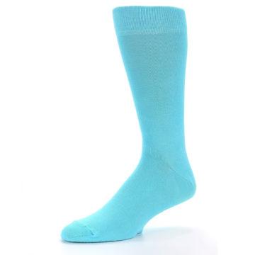 Image of Pool Blue Solid Color Men's Dress Socks (side-2-09)