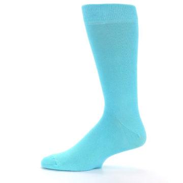 Image of Pool Blue Solid Color Men's Dress Socks (side-2-11)