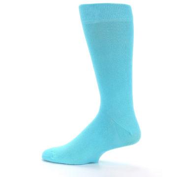 Image of Pool Blue Solid Color Men's Dress Socks (side-2-12)