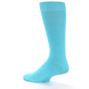 Image of Pool Blue Solid Color Men's Dress Socks (side-2-13)