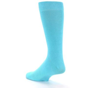 Image of Pool Blue Solid Color Men's Dress Socks (side-2-back-14)