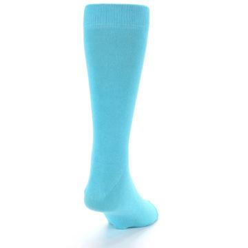 Image of Pool Blue Solid Color Men's Dress Socks (back-19)
