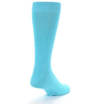 Image of Pool Blue Solid Color Men's Dress Socks (side-1-back-20)