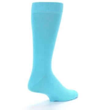Image of Pool Blue Solid Color Men's Dress Socks (side-1-back-21)