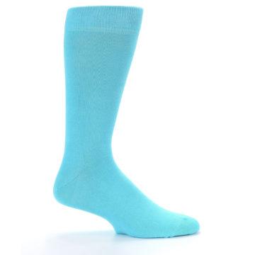 Image of Pool Blue Solid Color Men's Dress Socks (side-1-24)