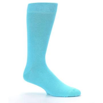 Image of Pool Blue Solid Color Men's Dress Socks (side-1-25)