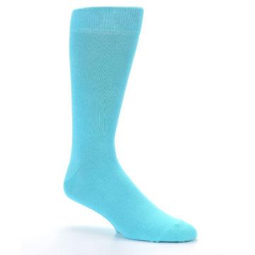 Image of Pool Blue Solid Color Men's Dress Socks (side-1-26)