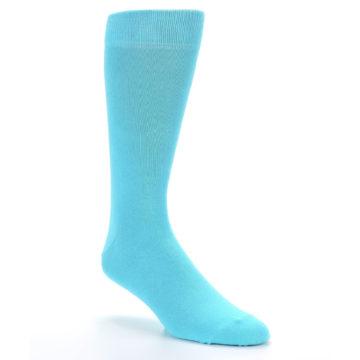 Image of Pool Blue Solid Color Men's Dress Socks (side-1-27)