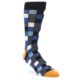 Image of Black Blue Grey Checkered Men's Dress Socks (side-1-front-01)