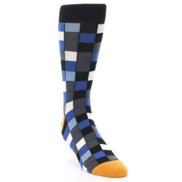 Image of Black Blue Grey Checkered Men's Dress Socks (side-1-front-02)
