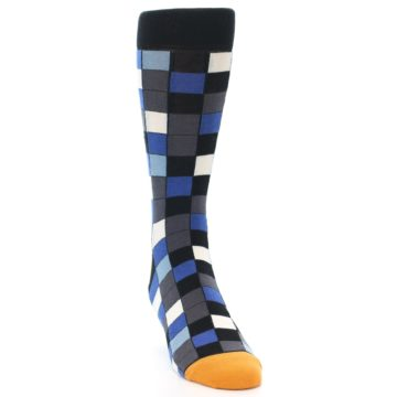 Image of Black Blue Grey Checkered Men's Dress Socks (side-1-front-03)