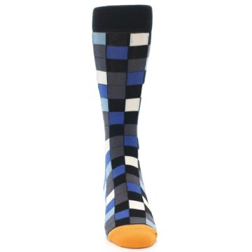Image of Black Blue Grey Checkered Men's Dress Socks (front-04)
