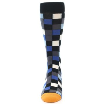 Image of Black Blue Grey Checkered Men's Dress Socks (front-05)