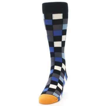 Image of Black Blue Grey Checkered Men's Dress Socks (side-2-front-06)