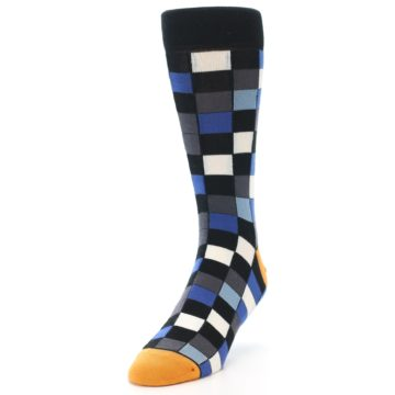 Image of Black Blue Grey Checkered Men's Dress Socks (side-2-front-07)