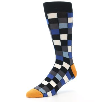 Image of Black Blue Grey Checkered Men's Dress Socks (side-2-09)