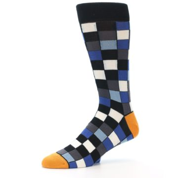 Image of Black Blue Grey Checkered Men's Dress Socks (side-2-10)