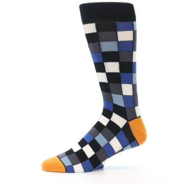 Image of Black Blue Grey Checkered Men's Dress Socks (side-2-11)