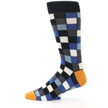 Image of Black Blue Grey Checkered Men's Dress Socks (side-2-12)