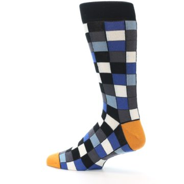 Image of Black Blue Grey Checkered Men's Dress Socks (side-2-13)