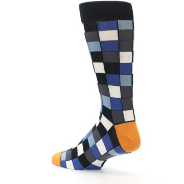 Image of Black Blue Grey Checkered Men's Dress Socks (side-2-back-14)