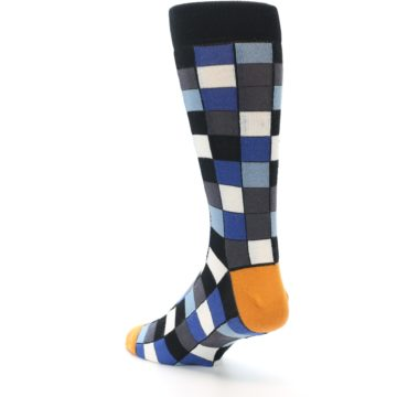 Image of Black Blue Grey Checkered Men's Dress Socks (side-2-back-15)