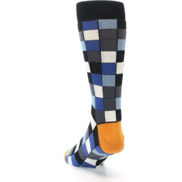 Image of Black Blue Grey Checkered Men's Dress Socks (side-2-back-16)