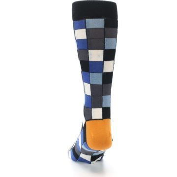 Image of Black Blue Grey Checkered Men's Dress Socks (back-17)