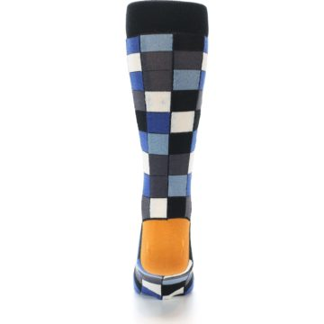 Image of Black Blue Grey Checkered Men's Dress Socks (back-18)