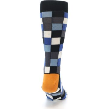 Image of Black Blue Grey Checkered Men's Dress Socks (back-19)